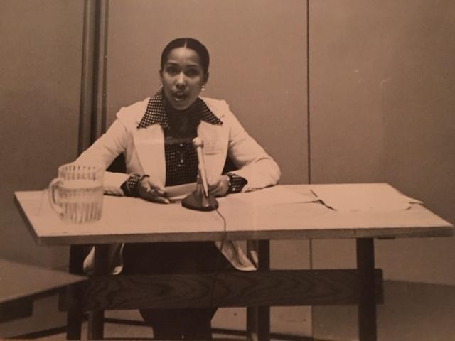 As student speaking at Harvard Business School